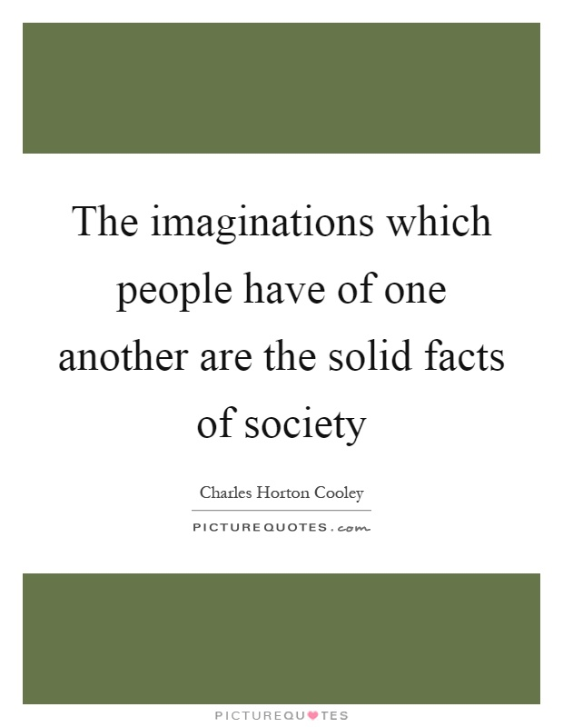 The imaginations which people have of one another are the solid facts of society Picture Quote #1