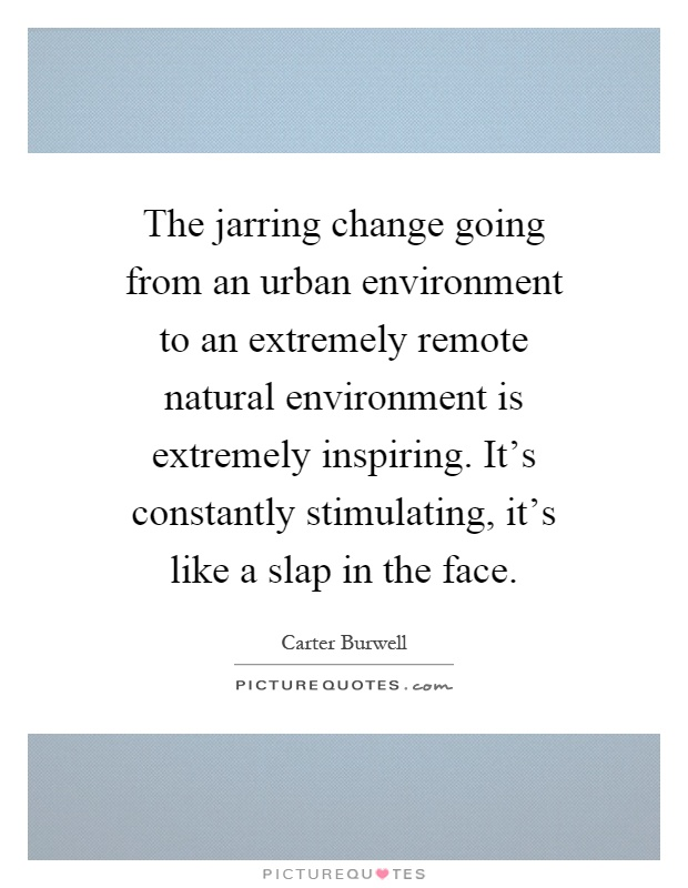 The jarring change going from an urban environment to an extremely remote natural environment is extremely inspiring. It's constantly stimulating, it's like a slap in the face Picture Quote #1