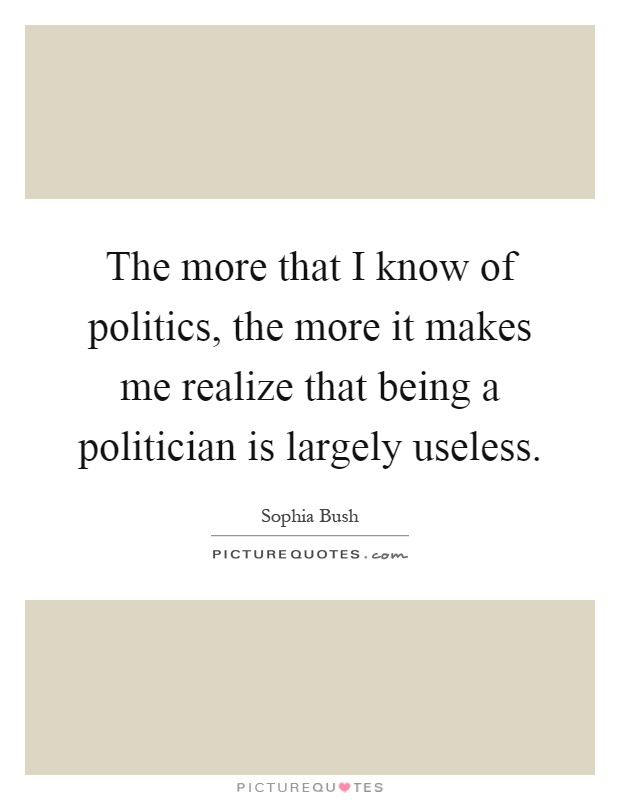 The more that I know of politics, the more it makes me realize that being a politician is largely useless Picture Quote #1