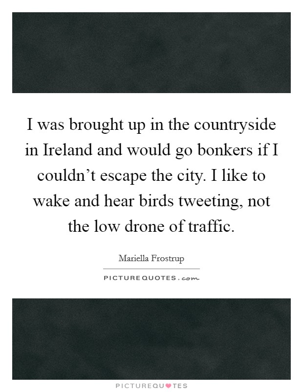I was brought up in the countryside in Ireland and would go bonkers if I couldn't escape the city. I like to wake and hear birds tweeting, not the low drone of traffic Picture Quote #1