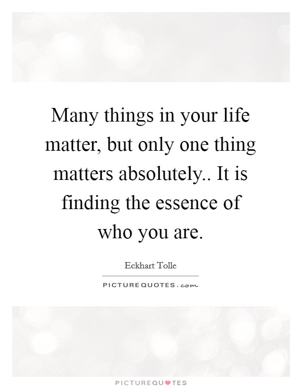 Many things in your life matter, but only one thing matters absolutely.. It is finding the essence of who you are Picture Quote #1