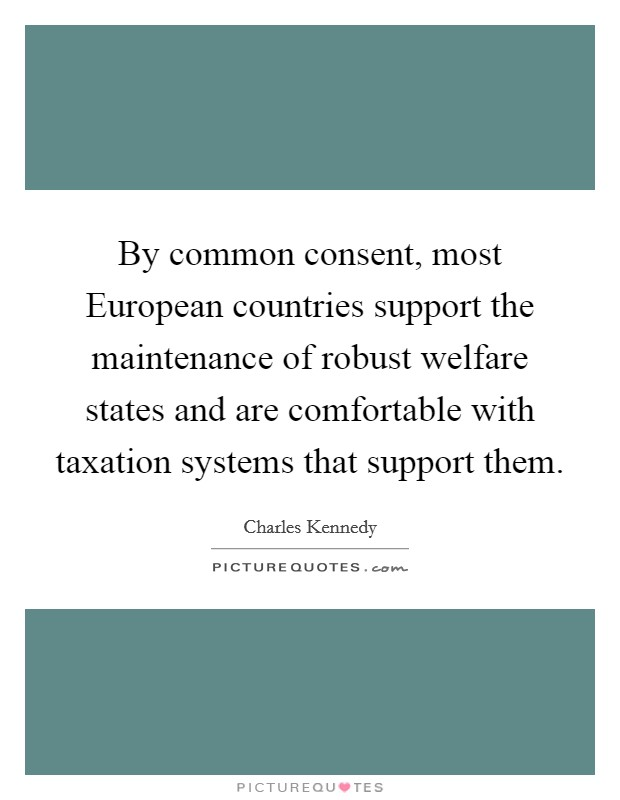 By common consent, most European countries support the maintenance of robust welfare states and are comfortable with taxation systems that support them Picture Quote #1