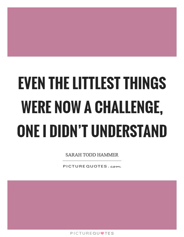 Even the littlest things were now a challenge, one I didn't understand Picture Quote #1