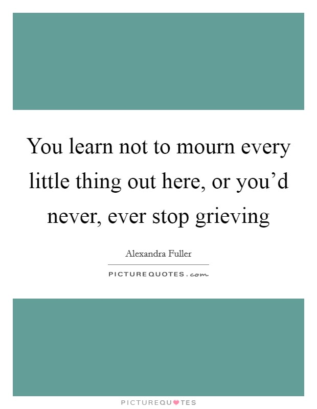 You learn not to mourn every little thing out here, or you'd never, ever stop grieving Picture Quote #1