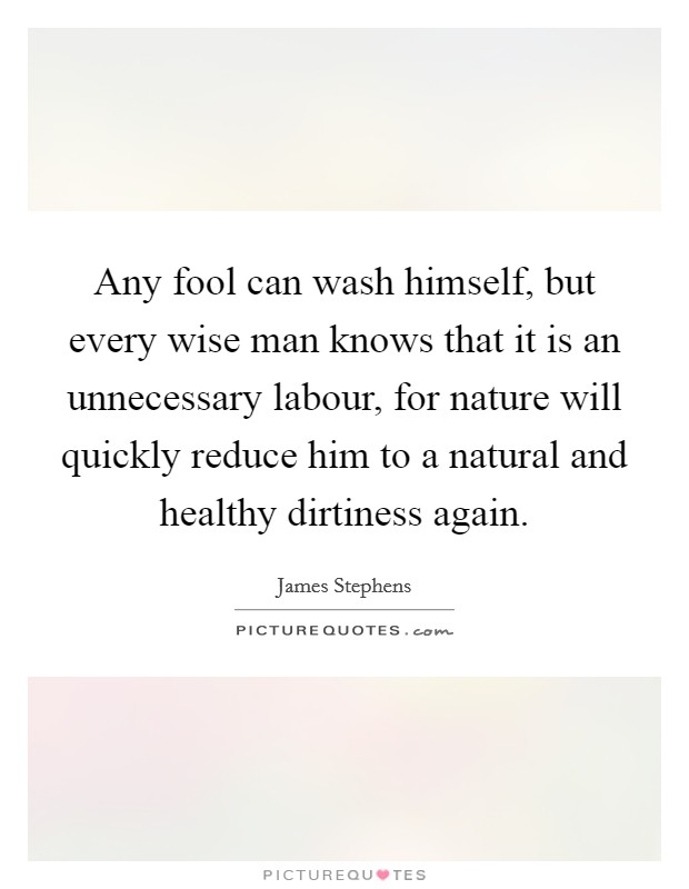 Any fool can wash himself, but every wise man knows that it is an unnecessary labour, for nature will quickly reduce him to a natural and healthy dirtiness again Picture Quote #1