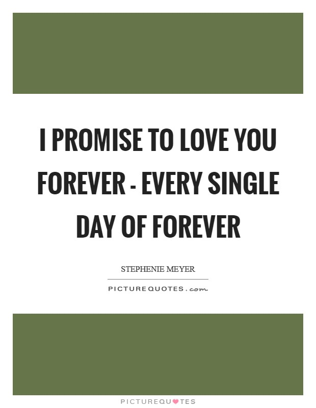 I promise to love you forever - every single day of forever Picture Quote #1