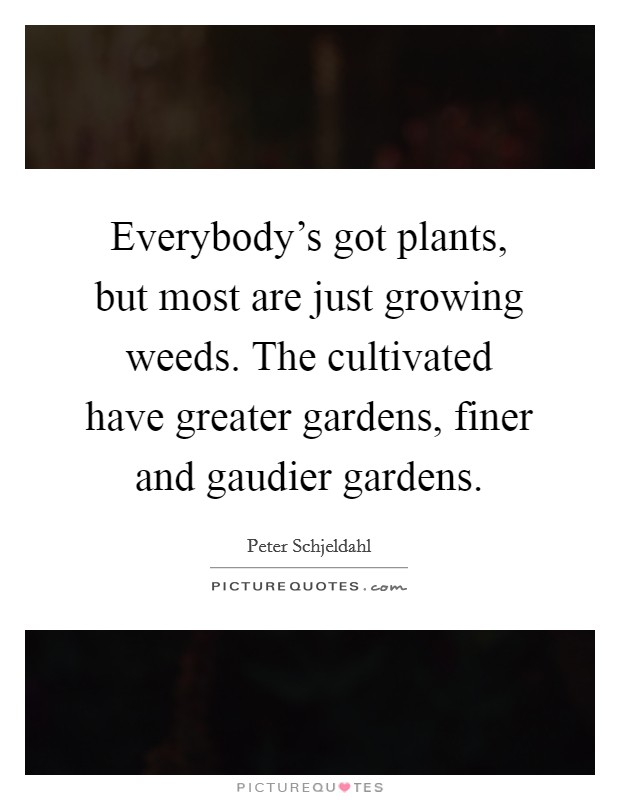 Everybody's got plants, but most are just growing weeds. The cultivated have greater gardens, finer and gaudier gardens Picture Quote #1