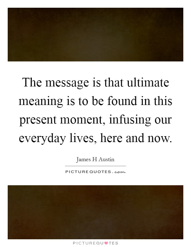 The message is that ultimate meaning is to be found in this present moment, infusing our everyday lives, here and now Picture Quote #1