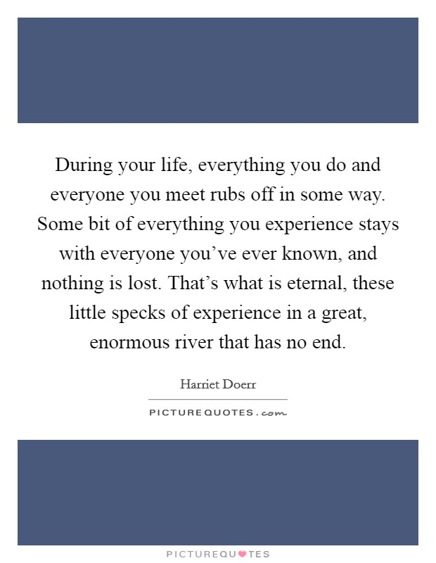 During your life, everything you do and everyone you meet rubs off in some way. Some bit of everything you experience stays with everyone you've ever known, and nothing is lost. That's what is eternal, these little specks of experience in a great, enormous river that has no end Picture Quote #1