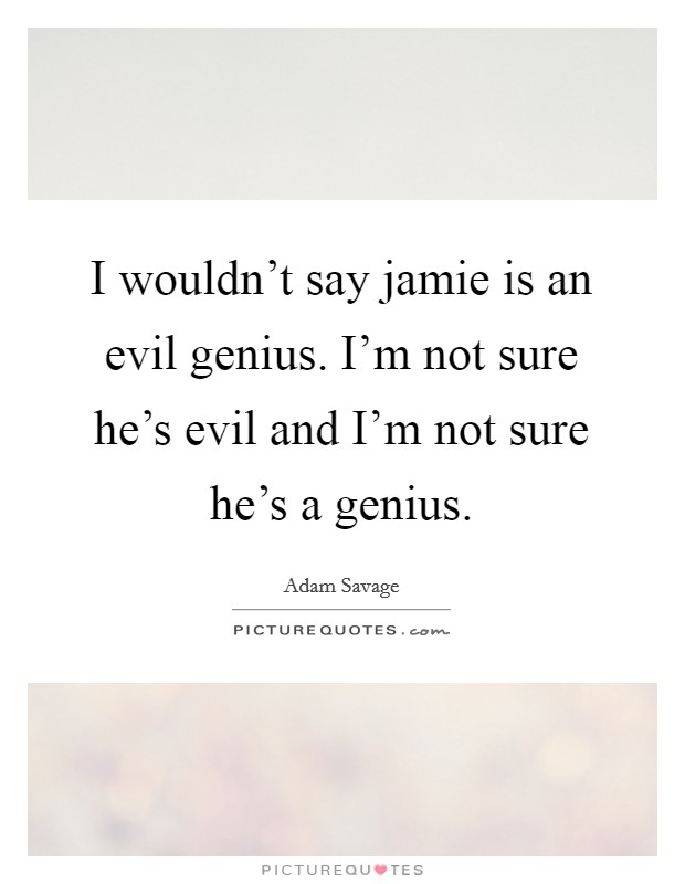 I wouldn't say jamie is an evil genius. I'm not sure he's evil and I'm not sure he's a genius Picture Quote #1