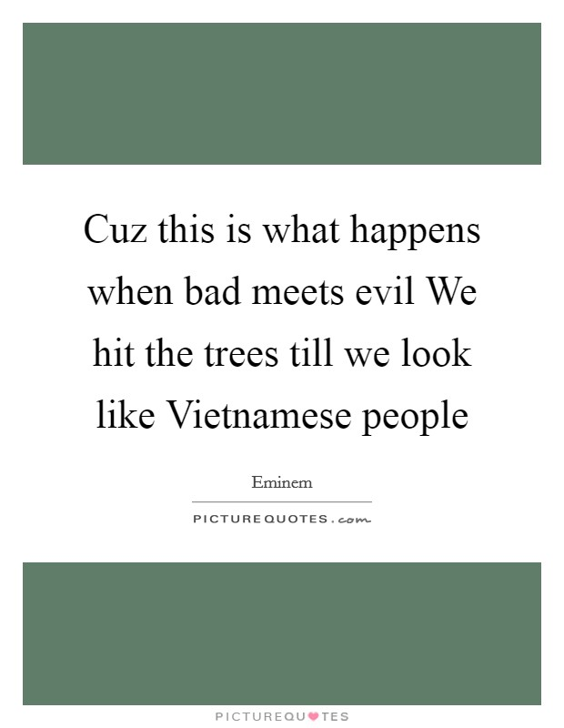 Cuz this is what happens when bad meets evil We hit the trees till we look like Vietnamese people Picture Quote #1