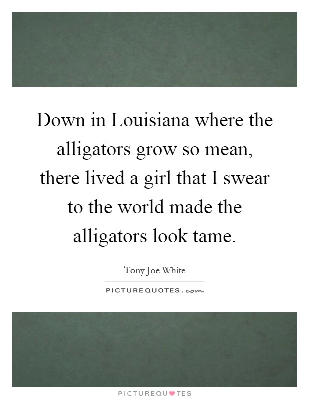 Down in Louisiana where the alligators grow so mean, there lived a girl that I swear to the world made the alligators look tame Picture Quote #1