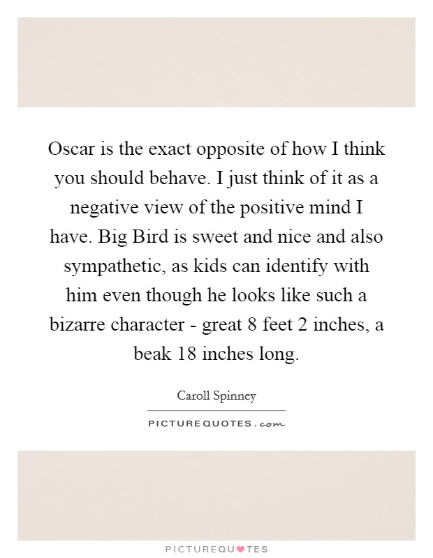 Oscar is the exact opposite of how I think you should behave. I just think of it as a negative view of the positive mind I have. Big Bird is sweet and nice and also sympathetic, as kids can identify with him even though he looks like such a bizarre character - great 8 feet 2 inches, a beak 18 inches long Picture Quote #1