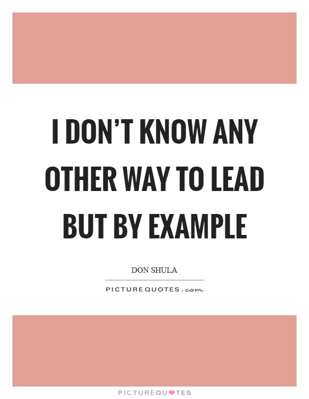 I don't know any other way to lead but by example Picture Quote #1