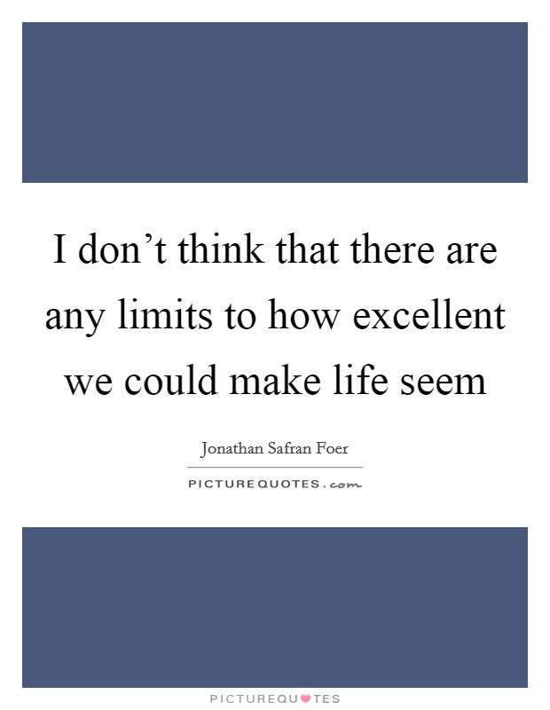 I don't think that there are any limits to how excellent we could make life seem Picture Quote #1