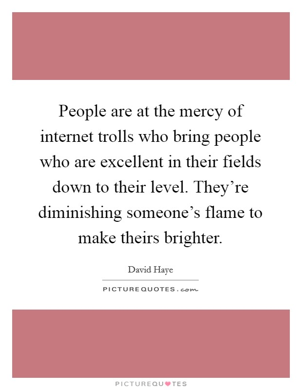 People are at the mercy of internet trolls who bring people who are excellent in their fields down to their level. They're diminishing someone's flame to make theirs brighter Picture Quote #1