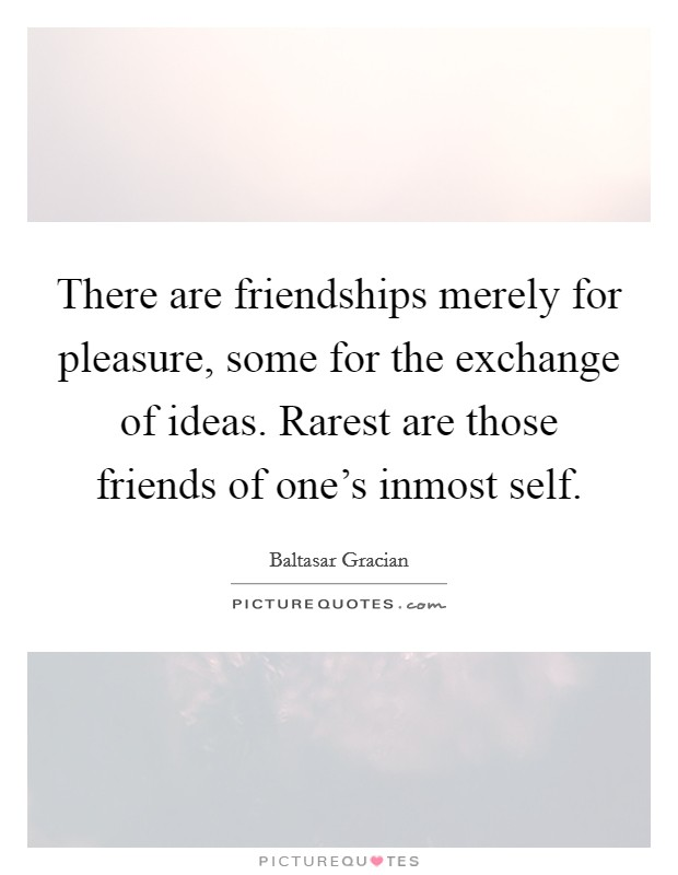 There are friendships merely for pleasure, some for the exchange of ideas. Rarest are those friends of one's inmost self Picture Quote #1