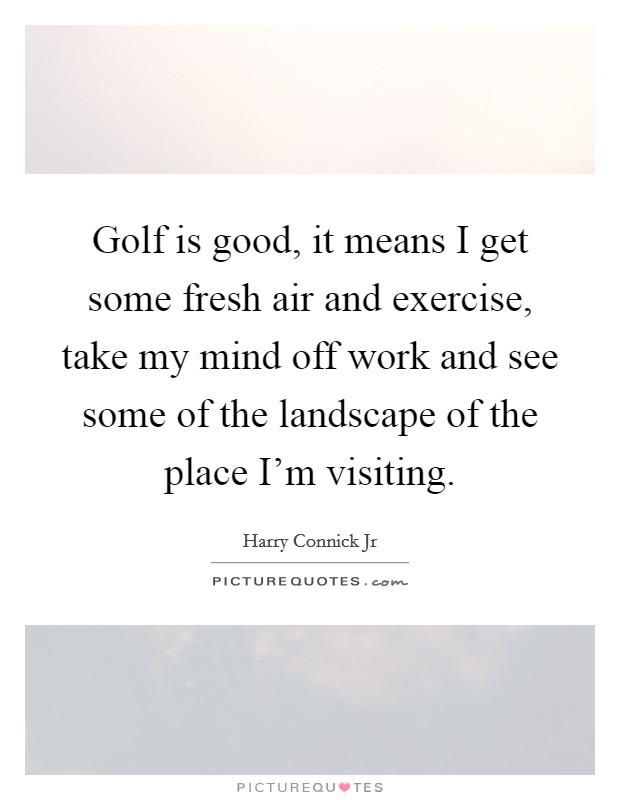 Golf is good, it means I get some fresh air and exercise, take my mind off work and see some of the landscape of the place I'm visiting Picture Quote #1