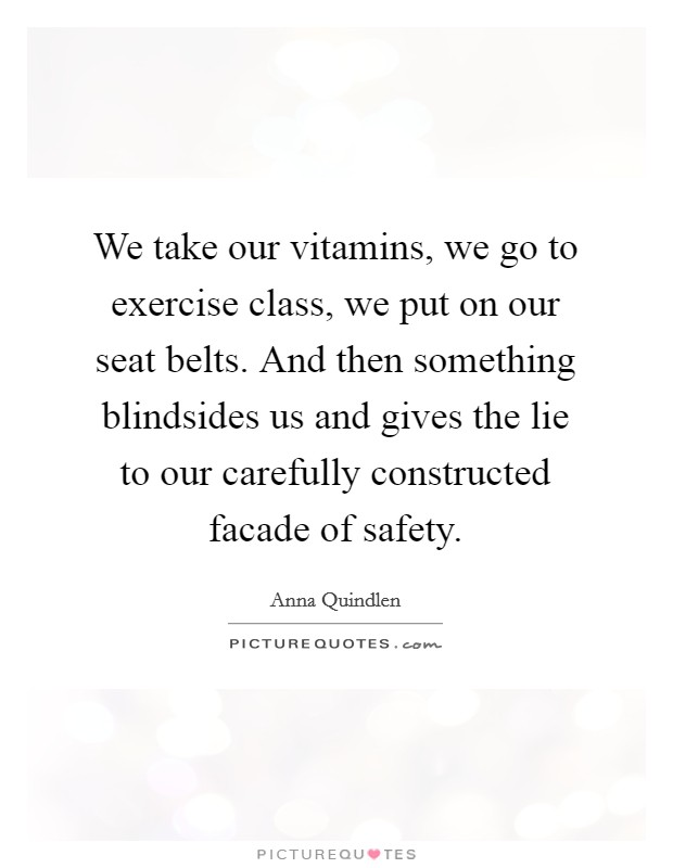 We take our vitamins, we go to exercise class, we put on our seat belts. And then something blindsides us and gives the lie to our carefully constructed facade of safety Picture Quote #1