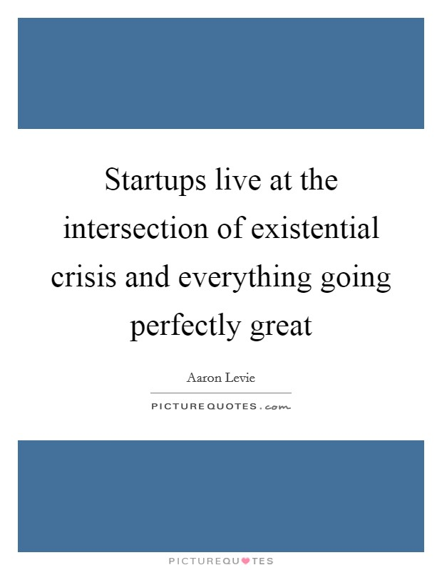 Startups live at the intersection of existential crisis and everything going perfectly great Picture Quote #1
