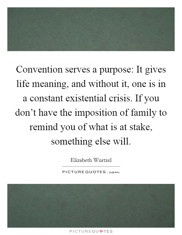 Convention serves a purpose: It gives life meaning, and without it, one is in a constant existential crisis. If you don't have the imposition of family to remind you of what is at stake, something else will Picture Quote #1