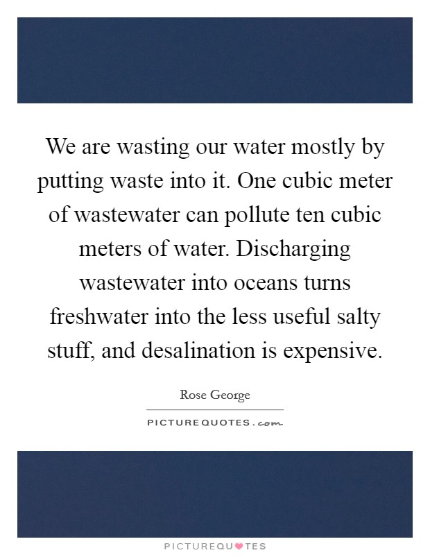 We are wasting our water mostly by putting waste into it. One cubic meter of wastewater can pollute ten cubic meters of water. Discharging wastewater into oceans turns freshwater into the less useful salty stuff, and desalination is expensive. Picture Quote #1