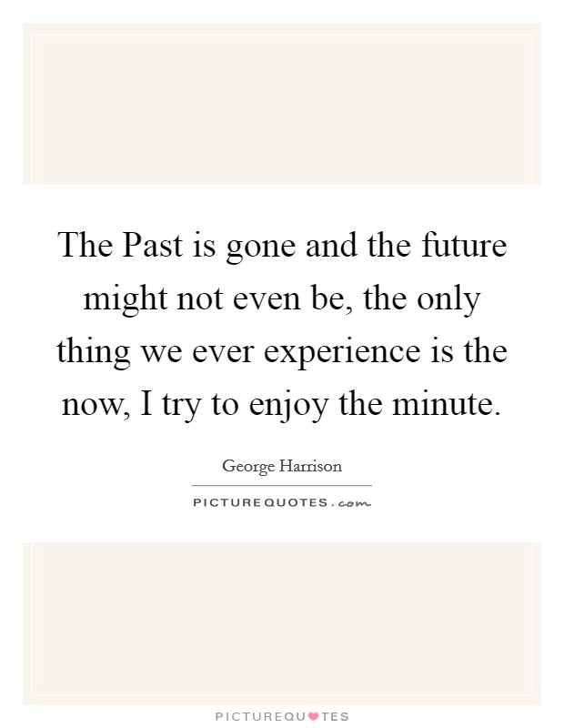 The Past is gone and the future might not even be, the only thing we ever experience is the now, I try to enjoy the minute Picture Quote #1