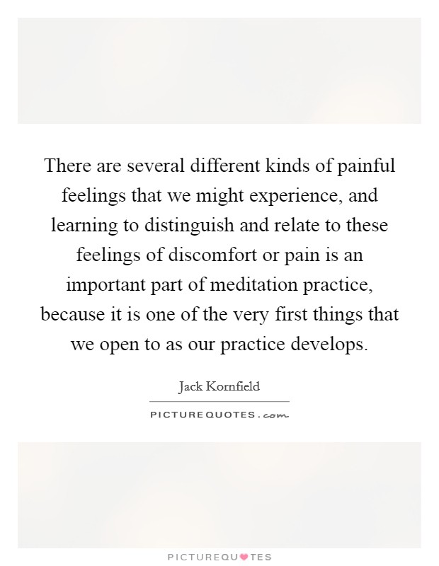 There are several different kinds of painful feelings that we might experience, and learning to distinguish and relate to these feelings of discomfort or pain is an important part of meditation practice, because it is one of the very first things that we open to as our practice develops Picture Quote #1