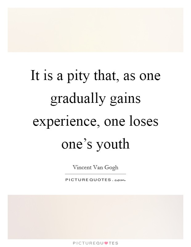It is a pity that, as one gradually gains experience, one loses one's youth Picture Quote #1