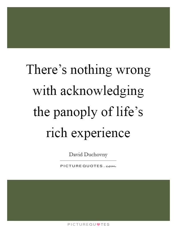 There's nothing wrong with acknowledging the panoply of life's rich experience Picture Quote #1