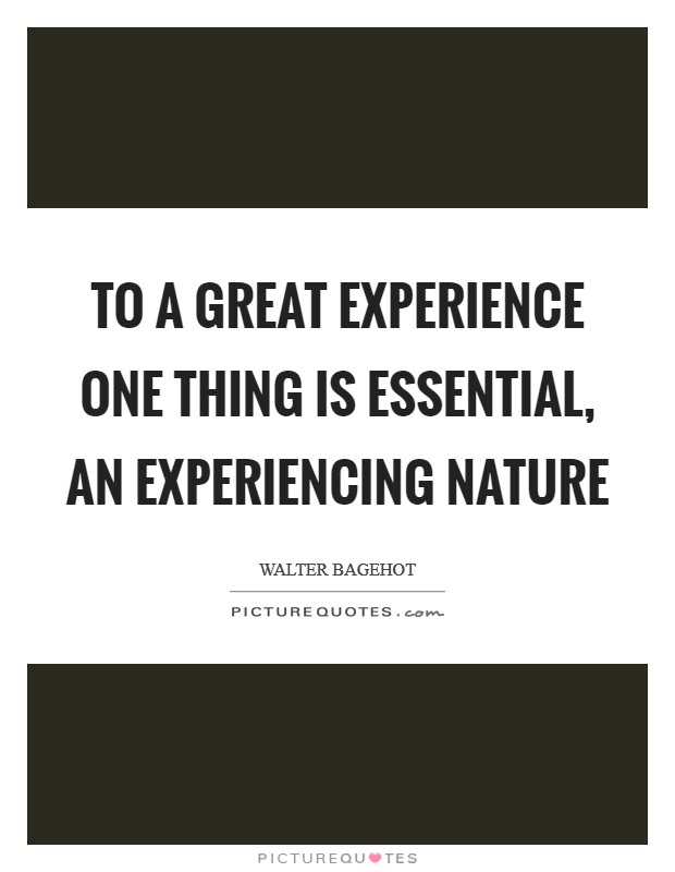 To a great experience one thing is essential, an experiencing nature Picture Quote #1