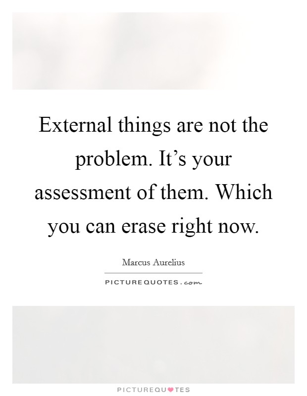 External things are not the problem. It's your assessment of them. Which you can erase right now. Picture Quote #1