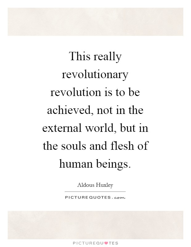 This really revolutionary revolution is to be achieved, not in the external world, but in the souls and flesh of human beings Picture Quote #1