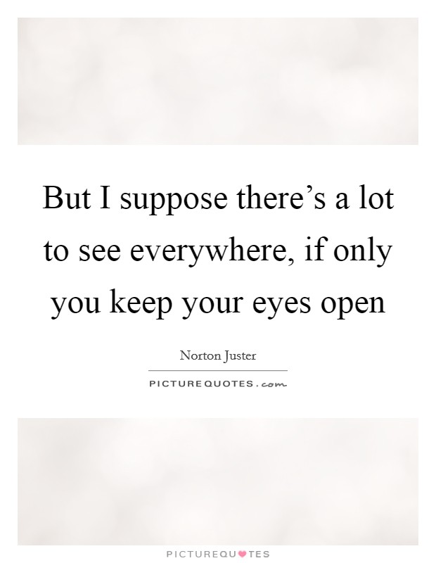 But I suppose there's a lot to see everywhere, if only you keep your eyes open Picture Quote #1
