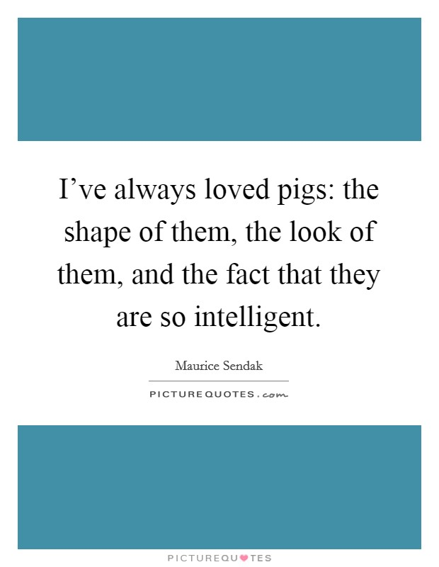 I've always loved pigs: the shape of them, the look of them, and the fact that they are so intelligent Picture Quote #1