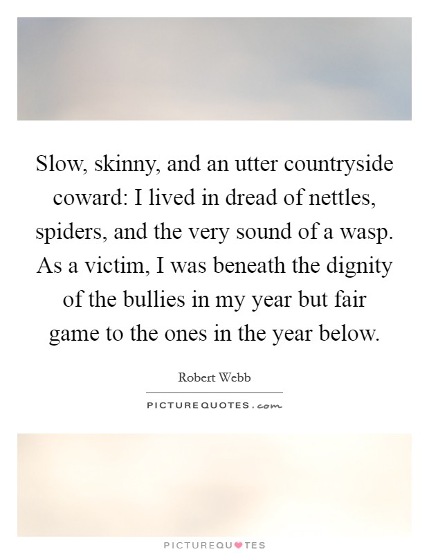 Slow, skinny, and an utter countryside coward: I lived in dread of nettles, spiders, and the very sound of a wasp. As a victim, I was beneath the dignity of the bullies in my year but fair game to the ones in the year below Picture Quote #1