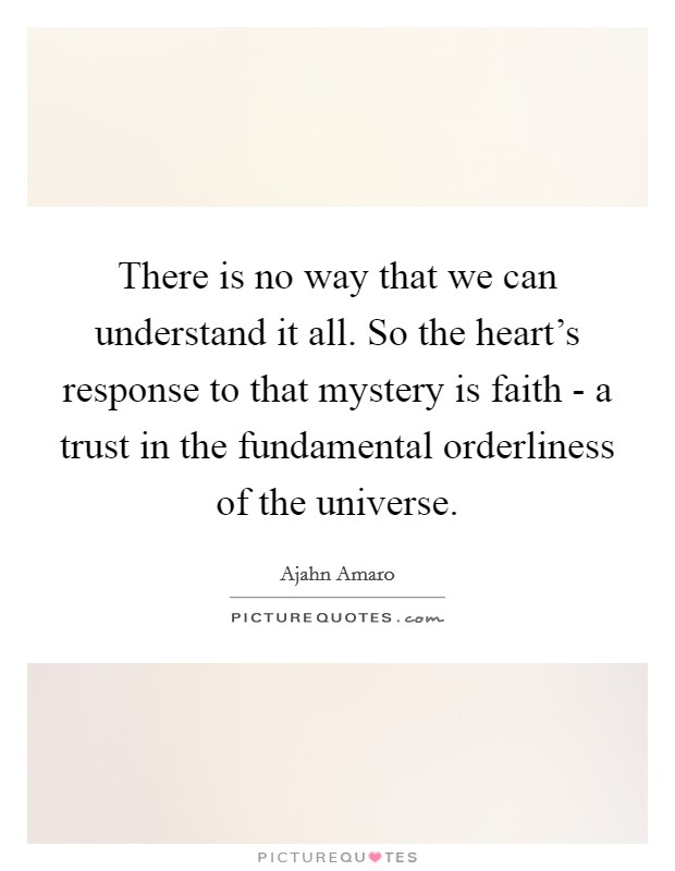 There is no way that we can understand it all. So the heart's response to that mystery is faith - a trust in the fundamental orderliness of the universe Picture Quote #1