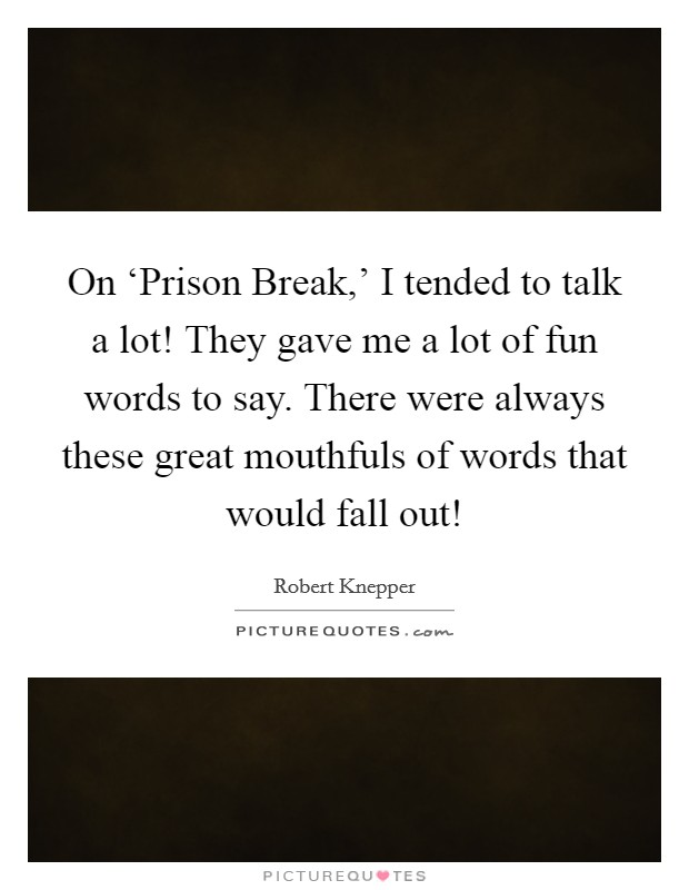 On 'Prison Break,' I tended to talk a lot! They gave me a lot of fun words to say. There were always these great mouthfuls of words that would fall out! Picture Quote #1