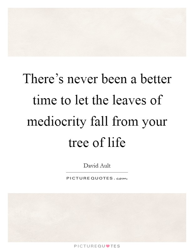 There's never been a better time to let the leaves of mediocrity fall from your tree of life Picture Quote #1
