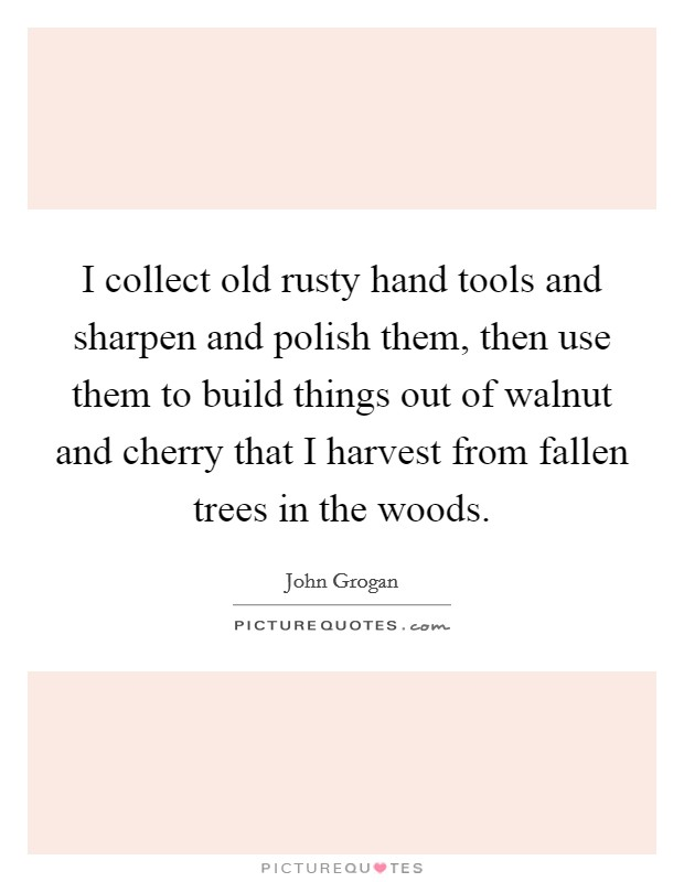 I collect old rusty hand tools and sharpen and polish them, then use them to build things out of walnut and cherry that I harvest from fallen trees in the woods. Picture Quote #1