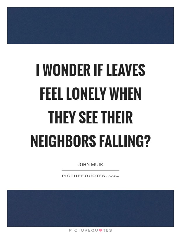 I wonder if leaves feel lonely when they see their neighbors falling? Picture Quote #1
