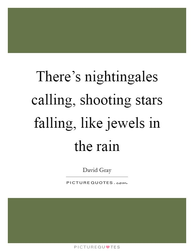 There's nightingales calling, shooting stars falling, like jewels in the rain Picture Quote #1