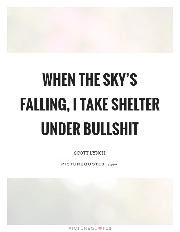 When the sky's falling, I take shelter under bullshit Picture Quote #1