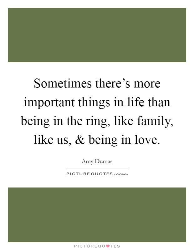 Sometimes there's more important things in life than being in the ring, like family, like us, and being in love Picture Quote #1
