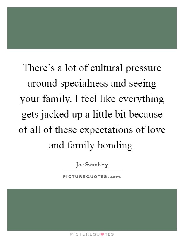 There's a lot of cultural pressure around specialness and seeing your family. I feel like everything gets jacked up a little bit because of all of these expectations of love and family bonding Picture Quote #1