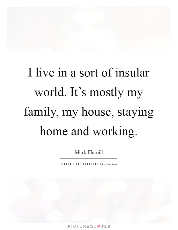 I live in a sort of insular world. It's mostly my family, my house, staying home and working Picture Quote #1