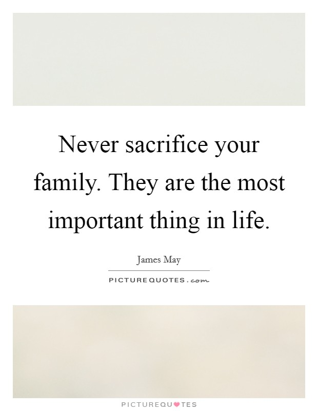 Never sacrifice your family. They are the most important thing in life Picture Quote #1