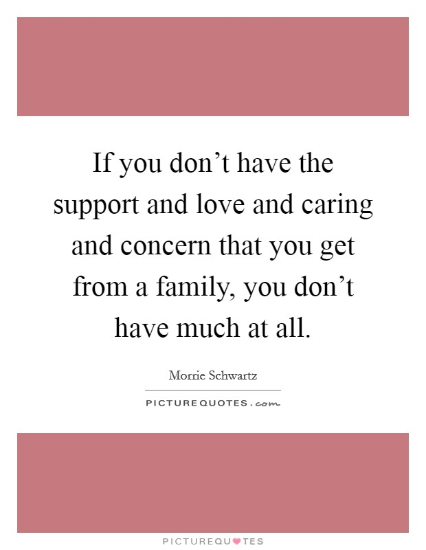 If you don't have the support and love and caring and concern that you get from a family, you don't have much at all Picture Quote #1