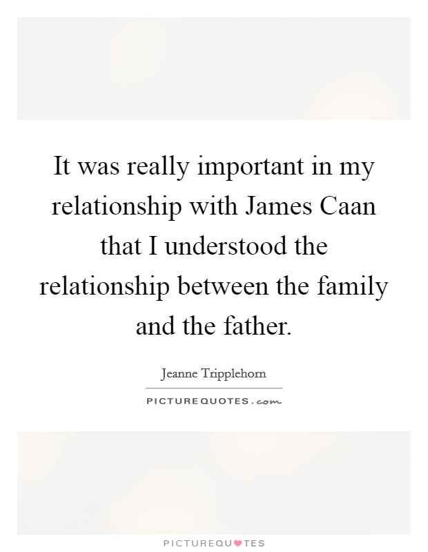 It was really important in my relationship with James Caan that I understood the relationship between the family and the father Picture Quote #1