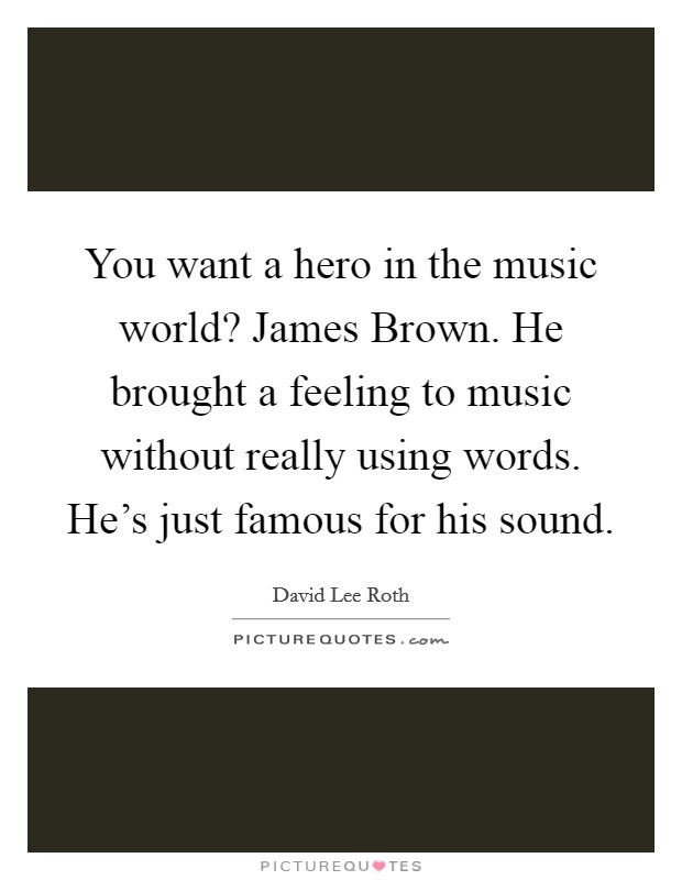 You want a hero in the music world? James Brown. He brought a feeling to music without really using words. He's just famous for his sound Picture Quote #1